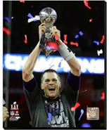 Tom Brady Patriots Super Bowl LI with Trophy- 16x20 Photo on Stretched C... - $94.95