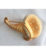 Elegant  Rhinestone Matte Golden Cornucopia Bro... - $14.95