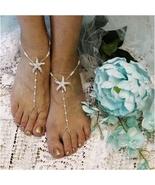 Barefoot Sandals, STARFISH, beach, beaded,foot jewelry, footless sandals... - $21.99
