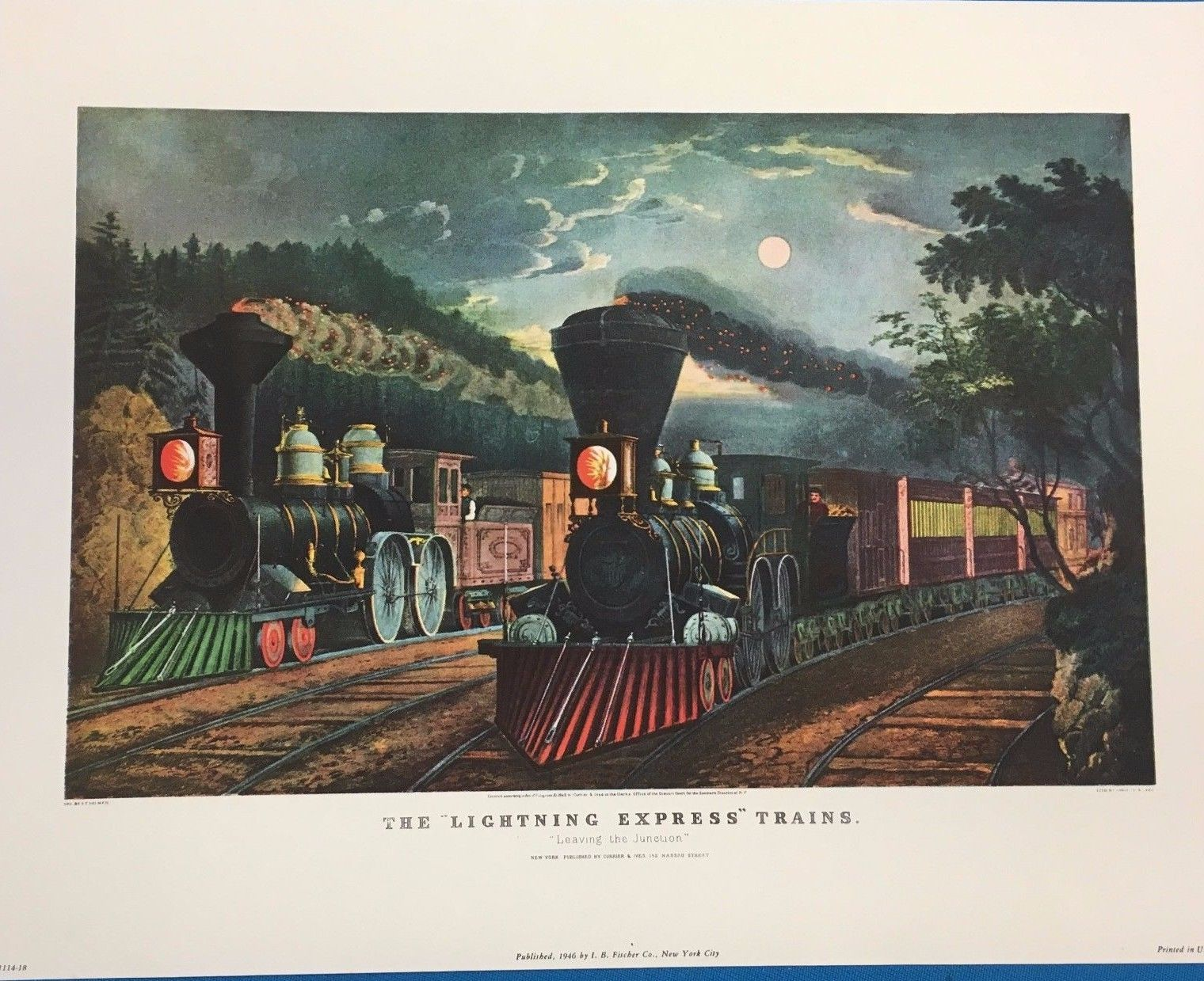 CURRIER & IVES Portfolio of 8 nostalgic color prints (1946) I.B. Fischer NYC