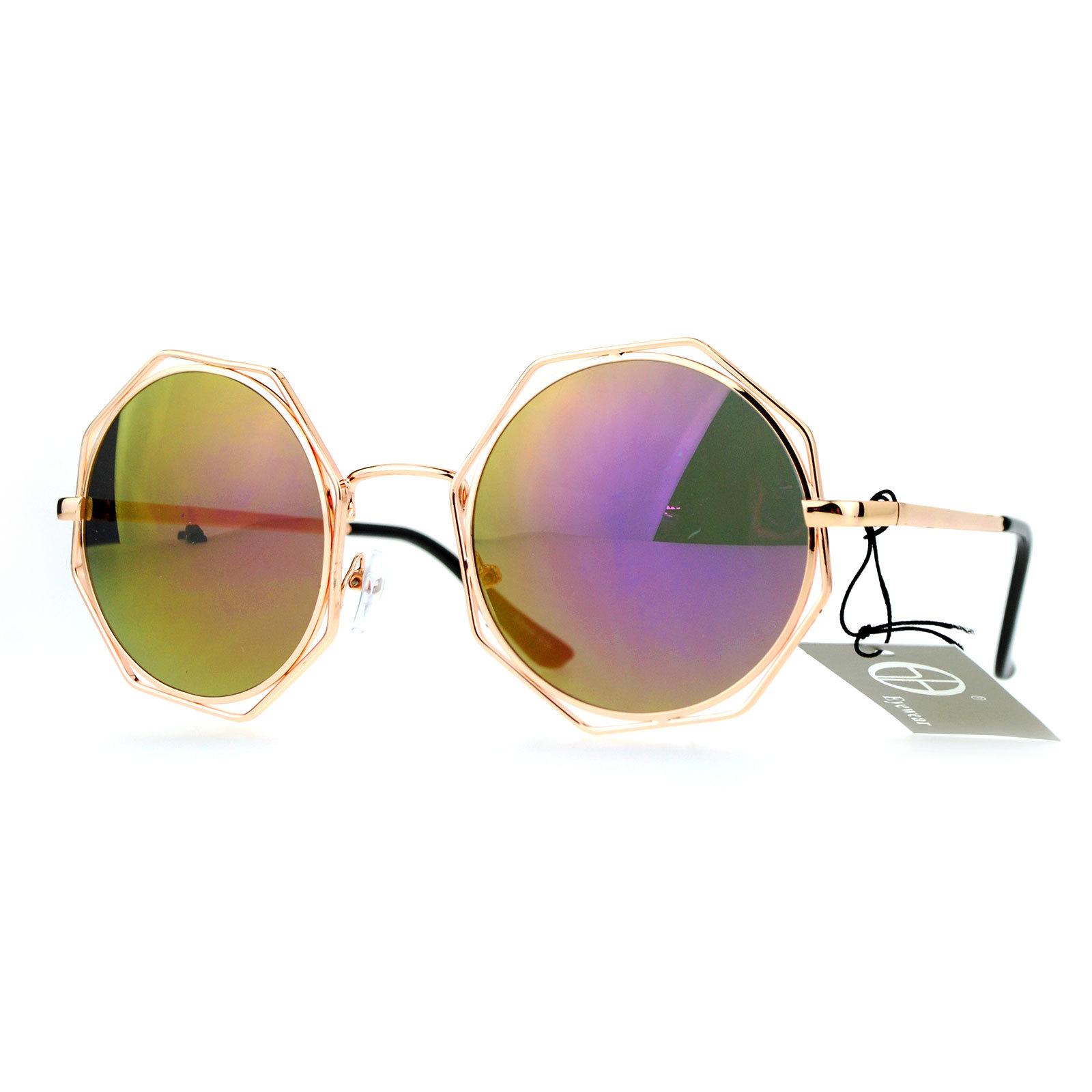 SA106 Octagonal Double Rim Circle Lens Womens Sunglasses Silver Blue