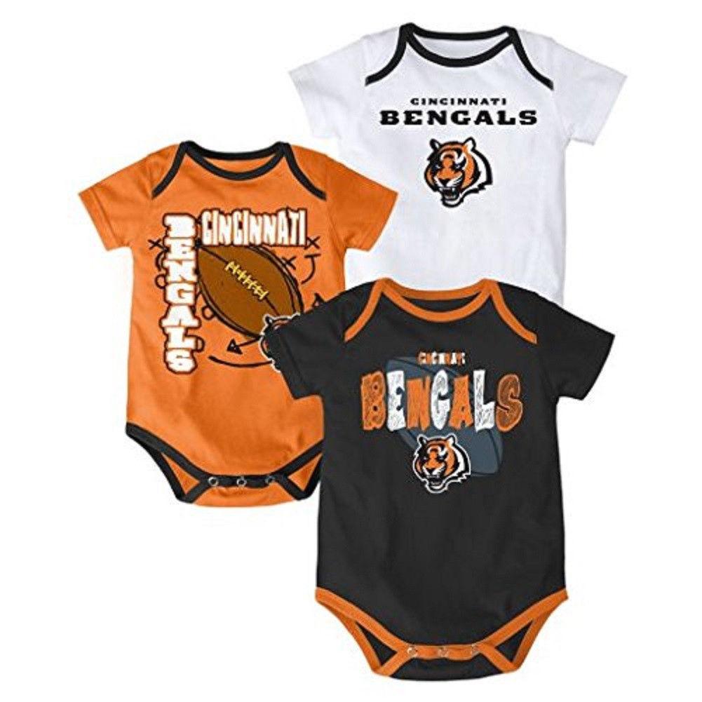 Cincinnati Bengals Infant Bodysuit NFL 3-point Spread Baby Set of 3 Shirts