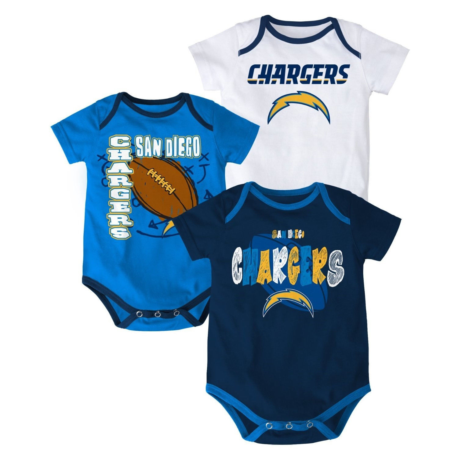 San Diego Chargers Infant Bodysuit NFL 3-point Spread Baby Set of 3 Shirts