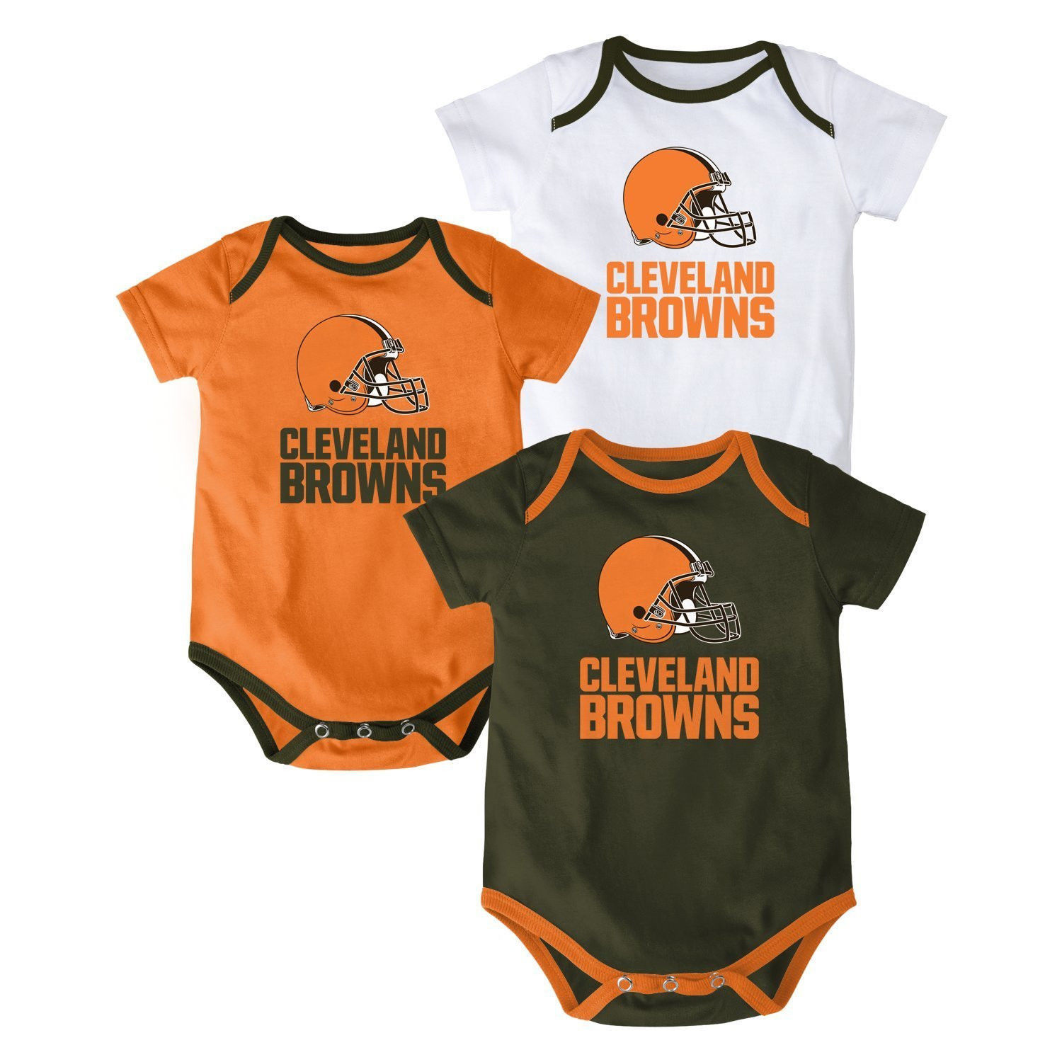 Cleveland Browns Infant Bodysuit NFL 3-point Spread Baby Set of 3 Shirts