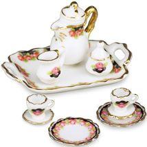 Dollhouse Coffee Tea Set w Tray Black Rose 13428 Reutter for 2 Miniature 2015 - $30.78