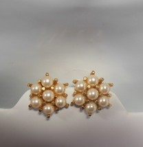 Vintage Clip-On Faux Pearl Cluster Earrings  - $24.74