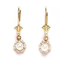 Women/Children's 14K Solid Yellow Gold Genuine White Pearl Dangle Earrings - $70.18