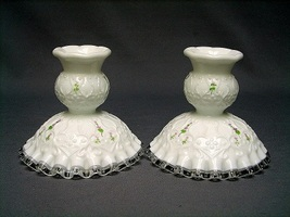 Fenton Spanish Lace Violets in the Snow Set of 2 Candlesticks - $35.00