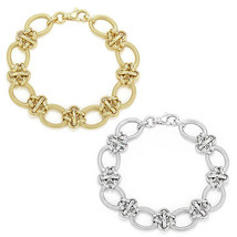 Women's Unique  925 Silver 14K Yellow Gold Oval Cable Link Italian Bracelet - $146.50+
