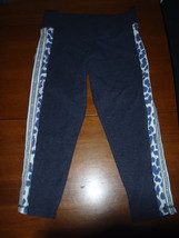 Victoria's Secret Gray Blue Giraffe Yoga Legging cropped capri SMALL - $37.15