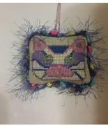 Cat Needlepoint Ornament Pincushion - $13.75