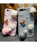 Christmas Bear Pearl Hand Made Hat Flannelette Case Cover for iPhone 6 S... - $7.69