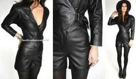 WOMEN LEATHER JUMPSUIT ROMPERS GENUINE LAMBSKIN REAL LEATHER JUMPSUIT-08