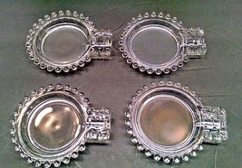 "VINTAGE 4 CANDLEWICK ASHTRAYS - IMPERIAL GLASS - CLEAR - 4"" X 5"" EACH - $7.87"