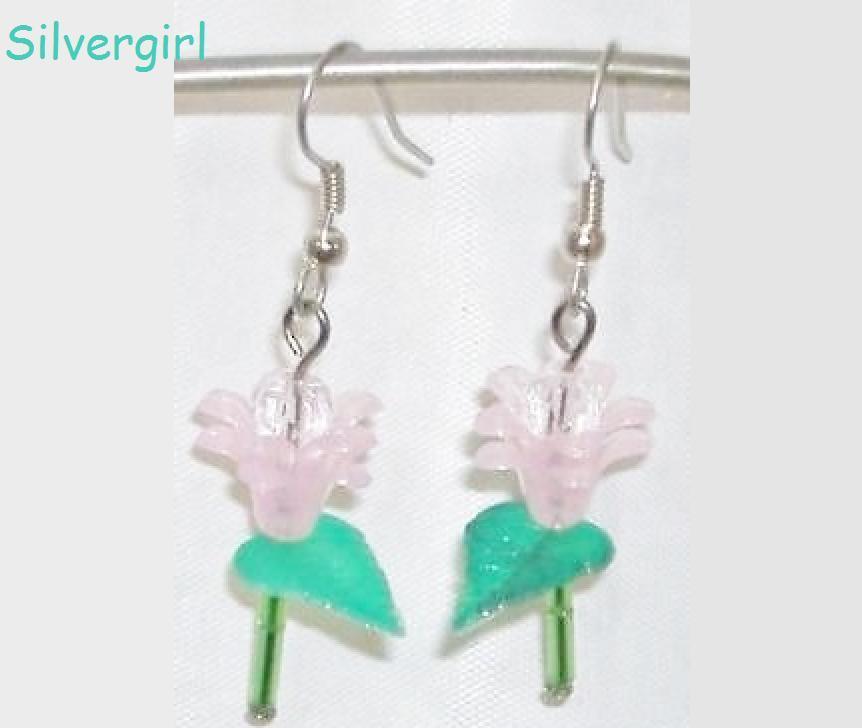 Single Stem Baby Pink Flower Earrings