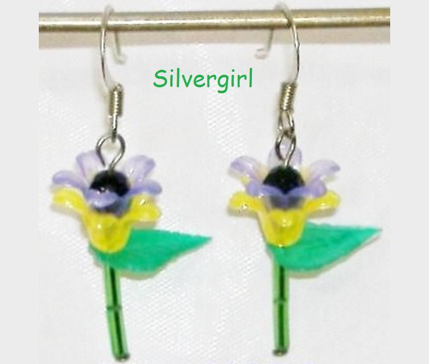 Single Stem Purple Yellow Flower Earrings