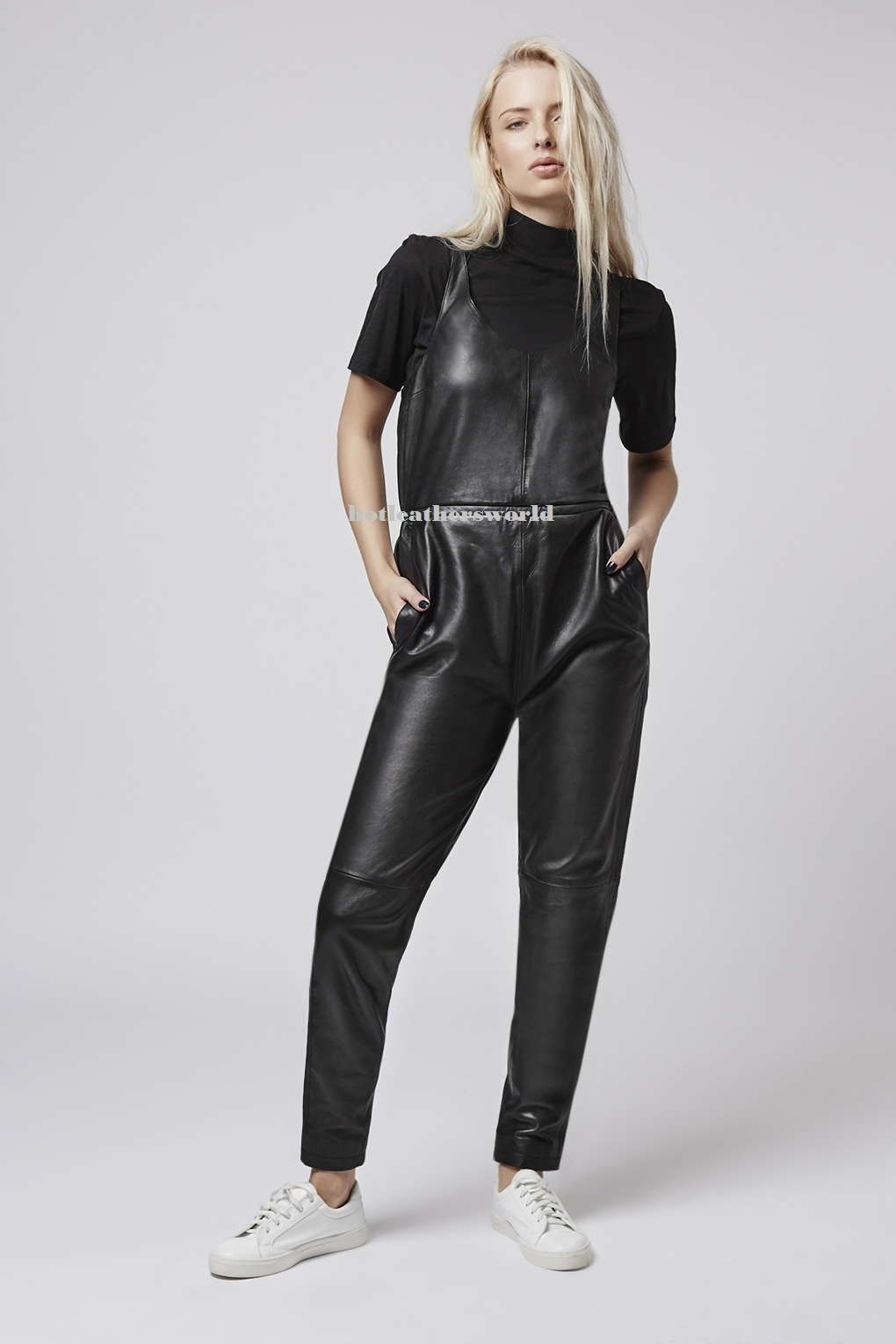 WOMEN LEATHER JUMPSUIT ROMPERS GENUINE LAMBSKIN REAL LEATHER JUMPSUIT-14