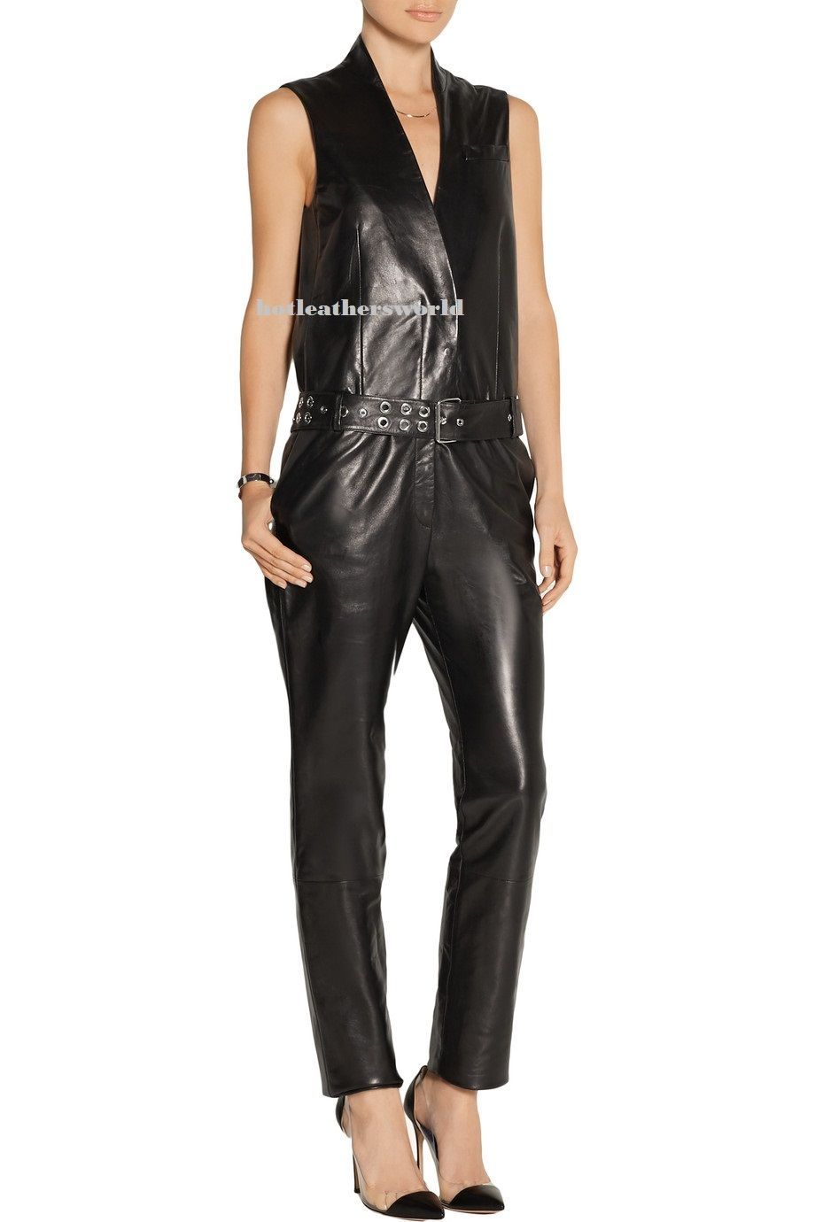 WOMEN LEATHER JUMPSUIT ROMPERS GENUINE LAMBSKIN REAL LEATHER JUMPSUIT-17