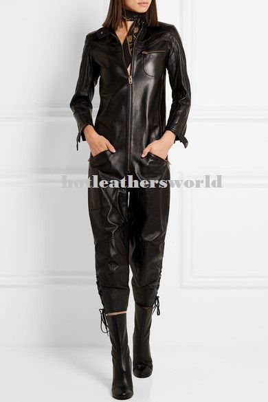 WOMEN LEATHER JUMPSUIT ROMPERS GENUINE LAMBSKIN REAL LEATHER JUMPSUIT-18