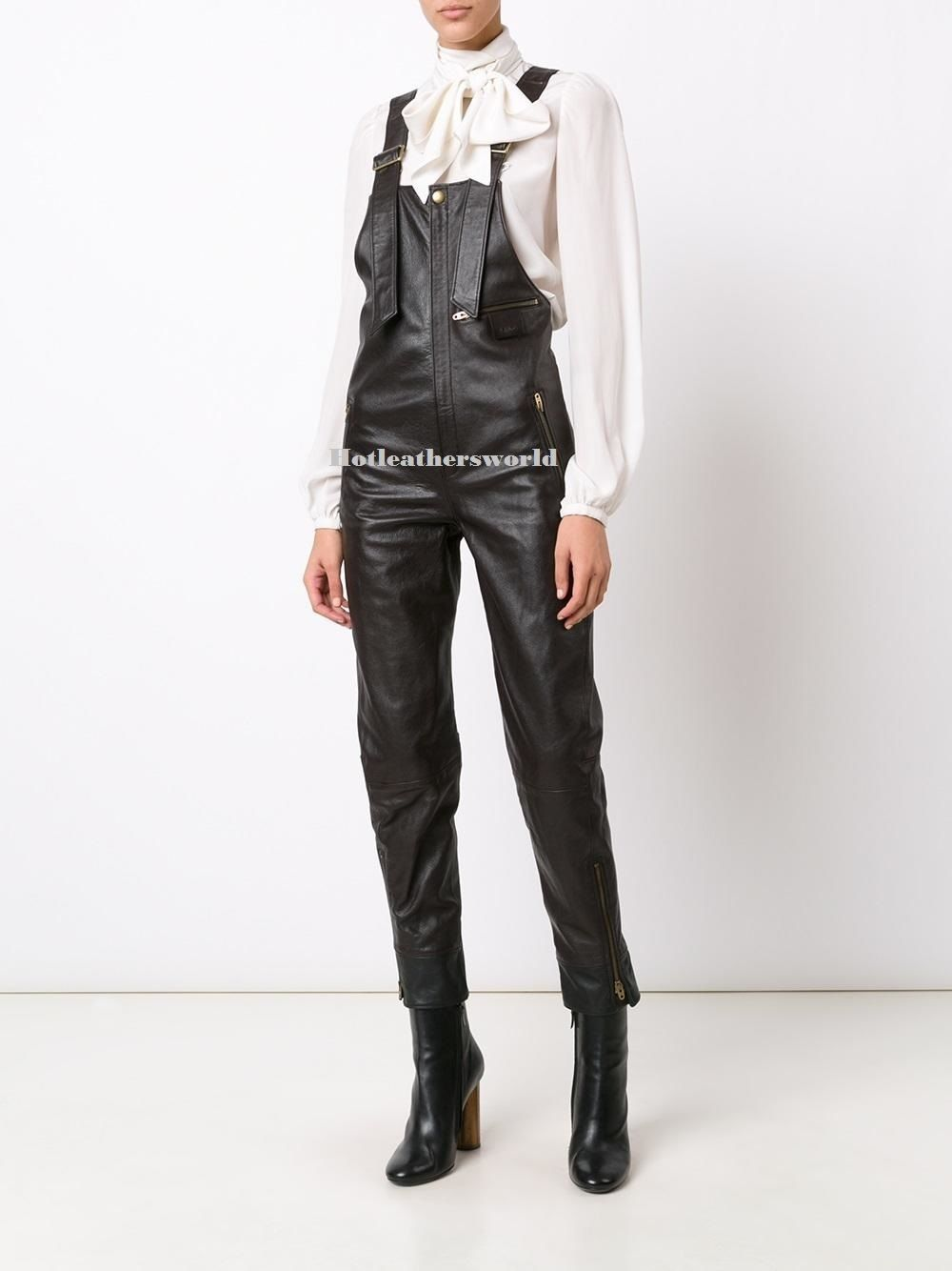 WOMEN LEATHER JUMPSUIT ROMPERS GENUINE LAMBSKIN REAL LEATHER JUMPSUIT-19