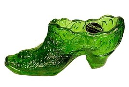 82454a kanawha green glass floral rose slipper shoe collectible figurine with tag thumb200