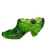 Kanawha Art Glass Green Rose Shoe Vintage West Virginia - $19.95
