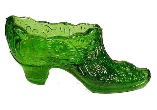 Kanawha Art Glass Green Rose Shoe Vintage West Virginia