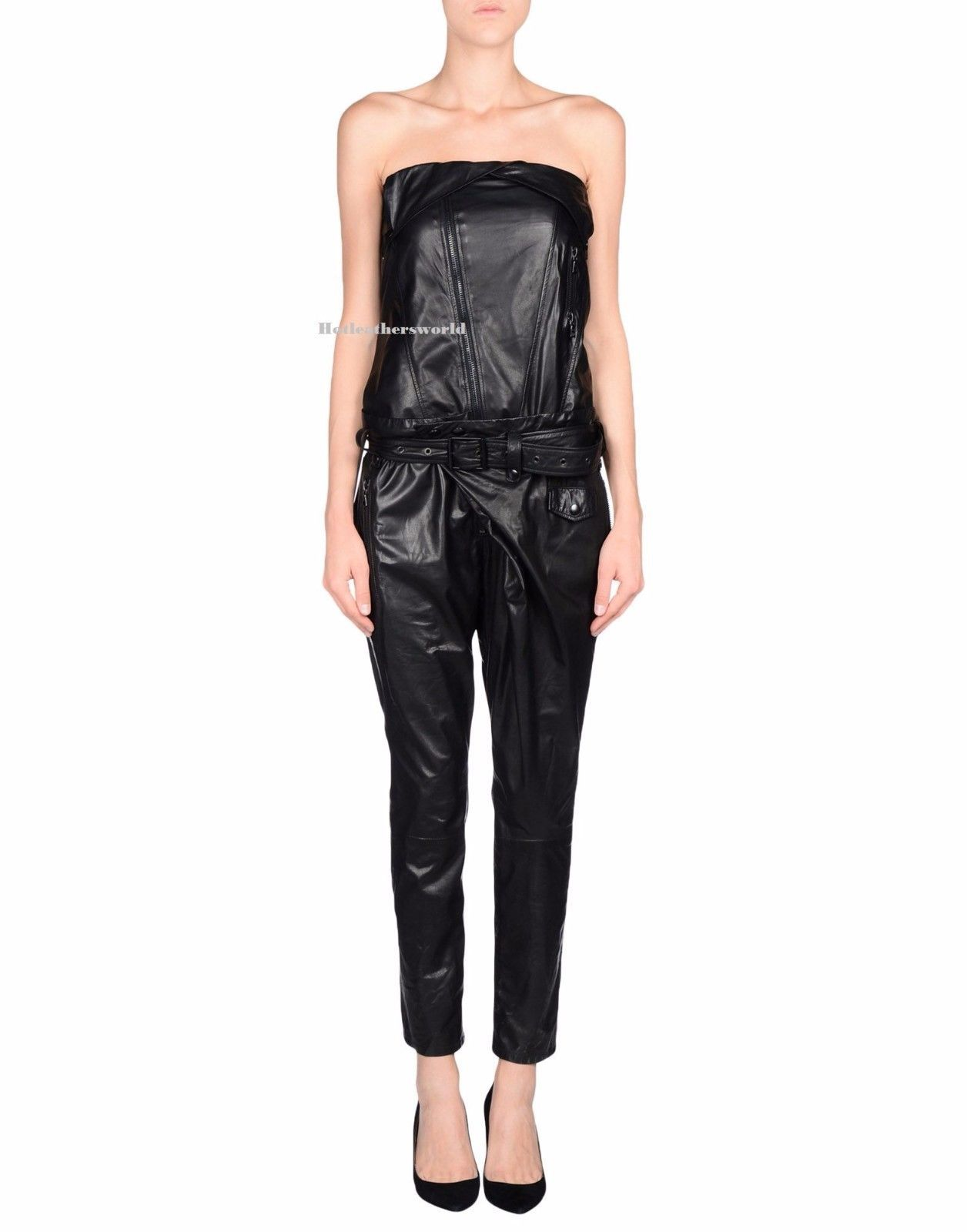 WOMEN LEATHER JUMPSUIT ROMPERS GENUINE LAMBSKIN REAL LEATHER JUMPSUIT-20