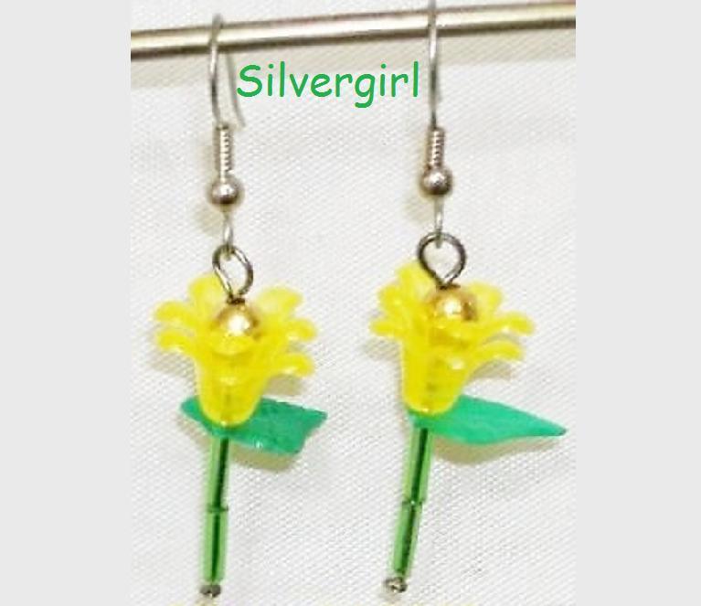 Single Stem Yellow Flower Earrings