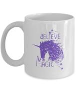 Unicorn Mug 'Believe in Magic' Motivational Mug white purple Coffee Cup 11 /15oz - £10.46 GBP - £12.54 GBP