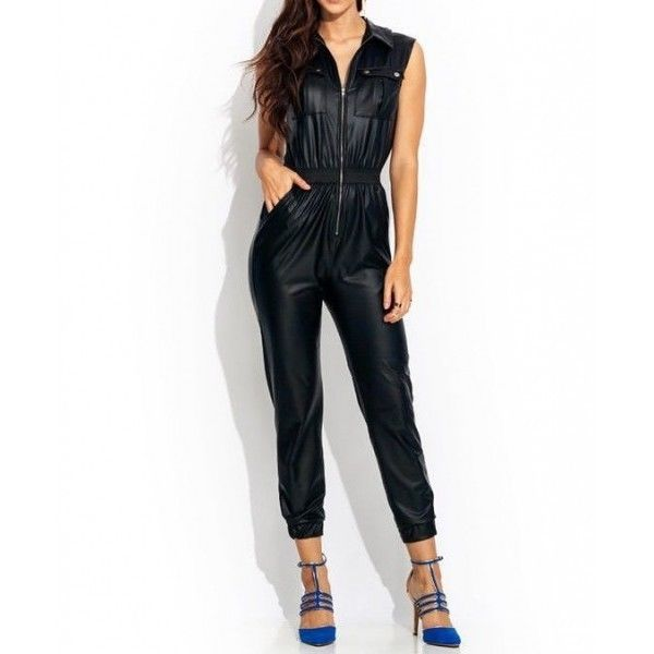 WOMEN LEATHER JUMPSUIT ROMPERS GENUINE LAMBSKIN REAL LEATHER JUMPSUIT-21