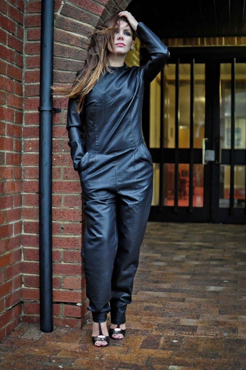 WOMEN LEATHER JUMPSUIT ROMPERS GENUINE LAMBSKIN REAL LEATHER JUMPSUIT-22