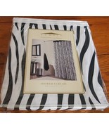 "Zebra Print Shower Curtain by Domain 72"" x 72"" 100% cotton WHITE & BLACK... - $22.53"