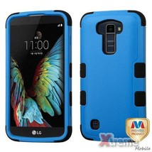 XM-For LG K10 Natural Blue/Black TUFF Hybrid Case Cover - $9.64