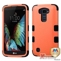 XM-For LG K10 Orange/Black Hybrid Case Cover TUFF Shockproof - $9.64