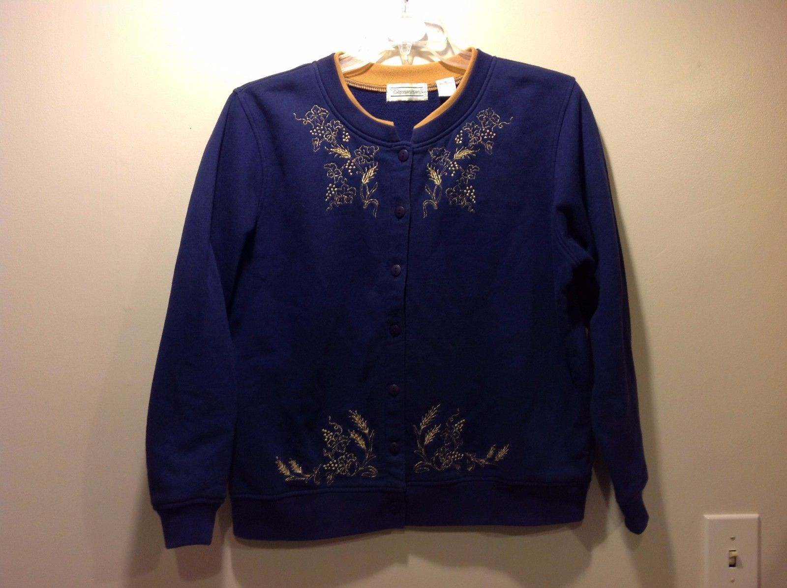 Shenanigans Indigo Button Up Sweater Sz Medium