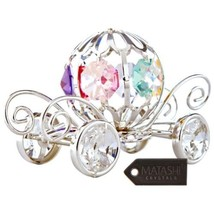 Silver Plated Crystal Studded Pumpkin Coach Orn... - $24.74