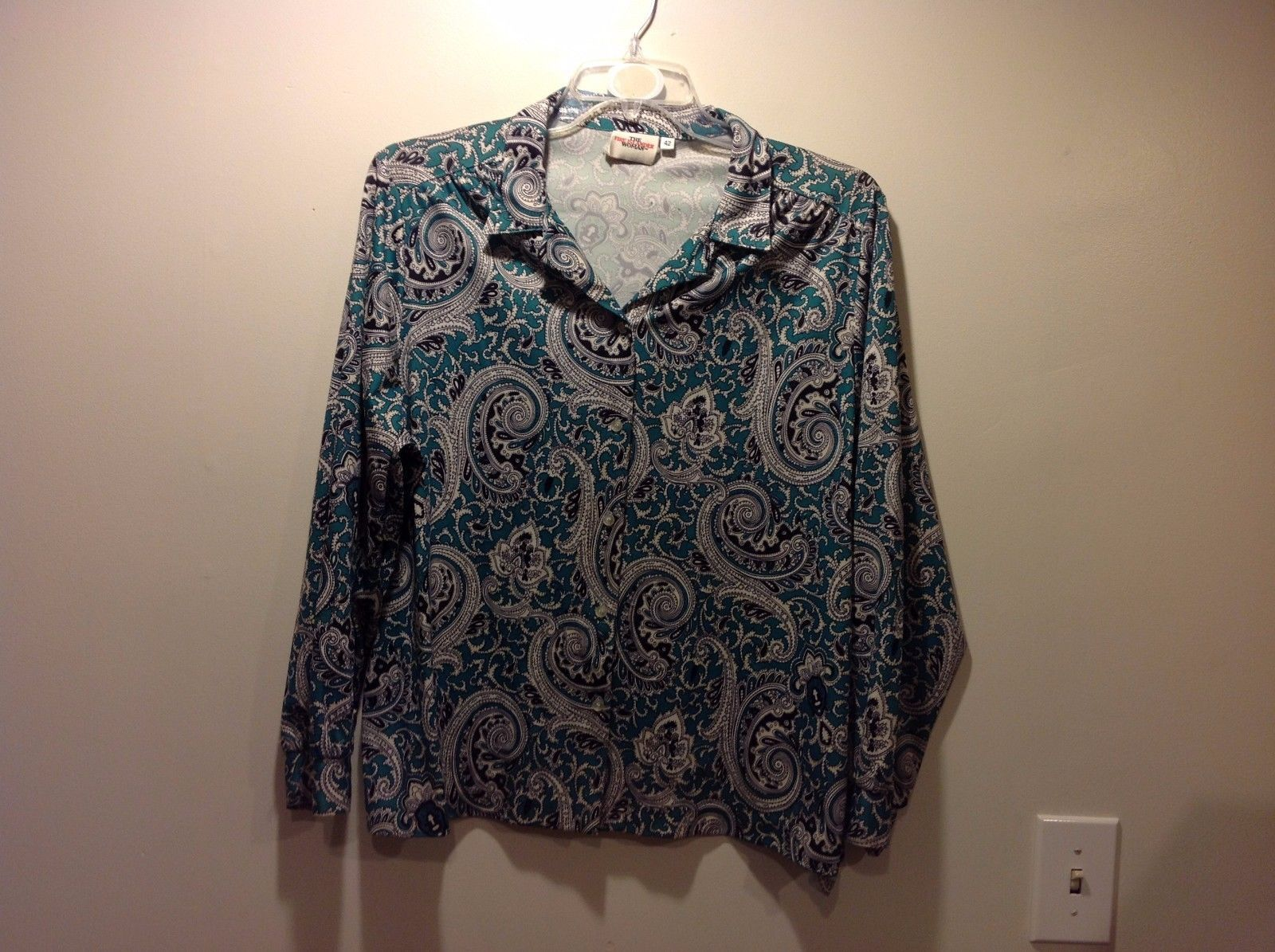 The Fire Islander Woman Paisley Patterned Button Up Blouse Sz 42