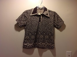 Paisley Floral Patterned Brown and Cream Colored Collared Blouse