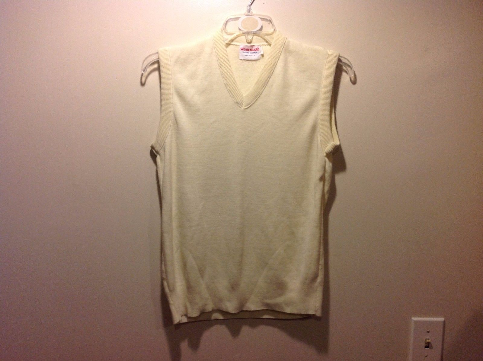 Wearguard Pale Pastel Lemon Yellow V Neck Sweater Vest Size Medium