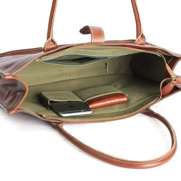 On Sale, Leather Tote Bag for Women, Shoulder Bag, Work & Student Bag, Shopper B image 5
