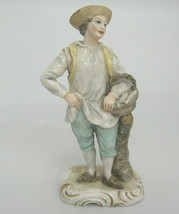 "Antique Fishmonger Figurine Man w Basket Fish on Gilded Base 7.25"" Capod... - $117.55"
