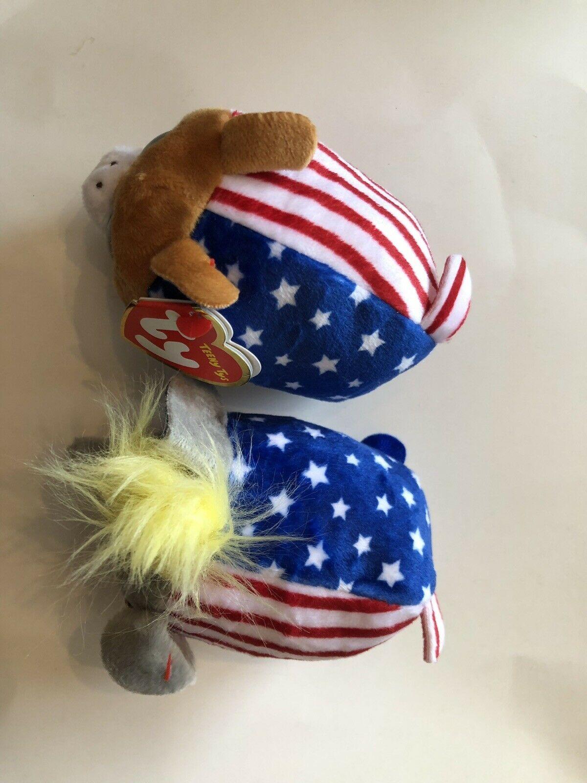TEENY TYS TY VOTE PRESIDENT Elephant Donkey Set NEW, MINT TAG *LIMITED EDITION*