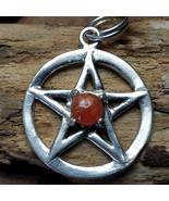 Sunstone Gemstone Silver Pentacle pendant necklace #001 - $35.00