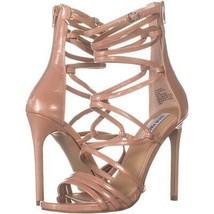 Steve Madden Strappy Heeled Sandals 828, Dark Blush Patent, 8.5 US - $30.71