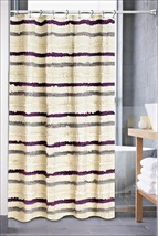 Popular Bath Luxa Hotel Jaslin Ruffled Shower Curtain Cream Purple Gray NEW - $47.52