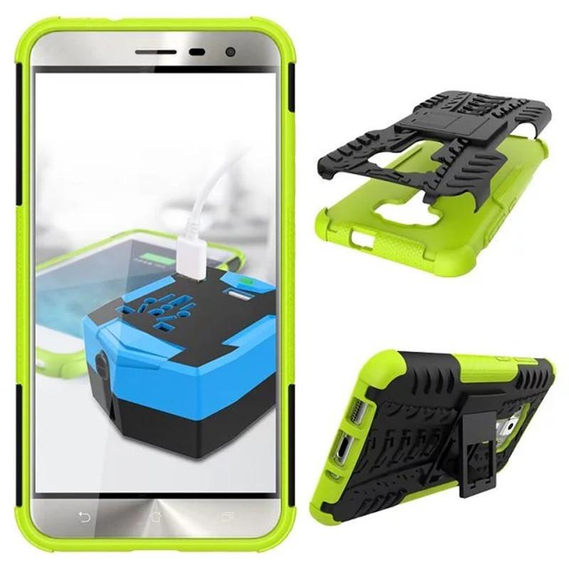 Hybrid Armor Kickstand Cover Case For ASUS ZenFone 3 ZE552KL 5.5inch - Green  image 2