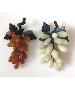 Two  Bunches Vintage Chinese Carved Quartz & Agate Grapes - $52.00