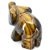 Tiger's Eye Gemstone Tiny Miniature Elephant Figurine Hand Carved in China image 3