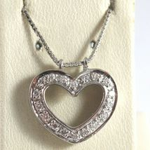 SOLID 18K WHITE GOLD NECKLACE WITH HEART DIAMONDS, DIAMOND MADE IN ITALY image 5